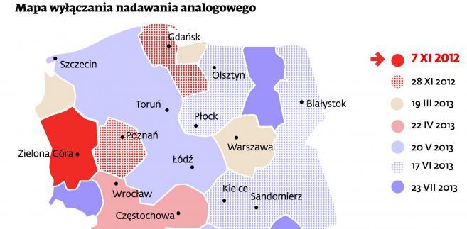 Mapa wyłączenia nadawania analogowego