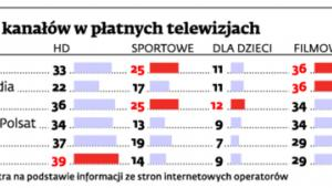 Liczba kanałów w płatnych telewizjach