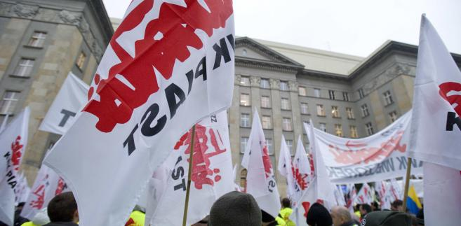 Protest związkowców w Katowicach