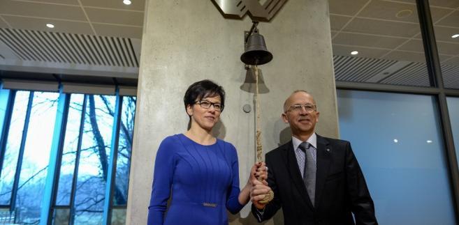 Małgorzata Zaleska oraz Wiesław Rozłucki podczas Nadzwyczajnego Walnego Zgromadzenia GPW.