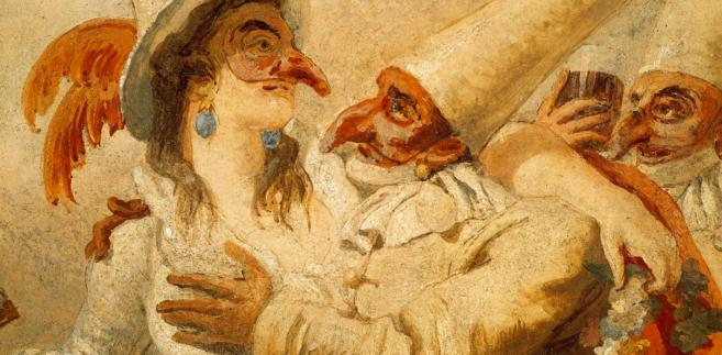 Fresk przedstawiający karnawałową zabawę namalowany przez Giovanniego Domenico Tiepolo w XVIII w.