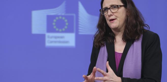 Cecilia Malmstrom podczas konferencji prasowej ws. porozumienia UE z Kanadą
