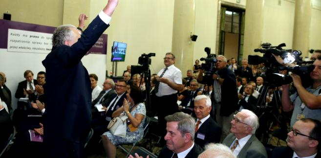 Prezes Trybunału Konstytucyjnego prof. Andrzej Rzepliński podczas Nadzwyczajnego Kongresu Sędziów Polskich.