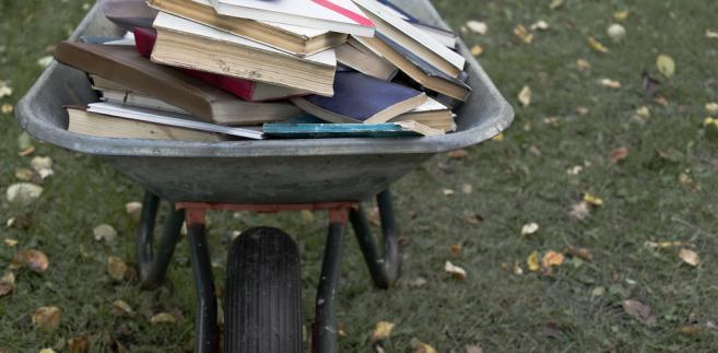 książki, taczka