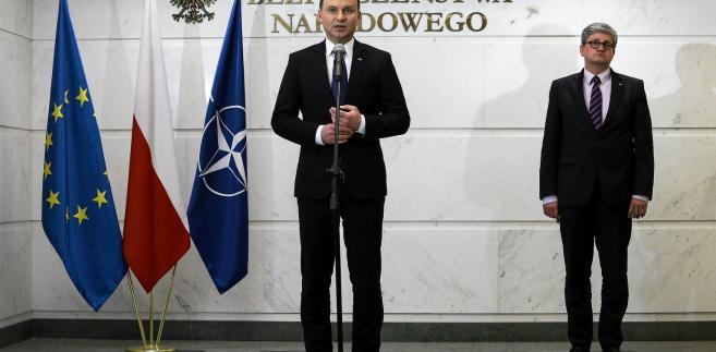 Prezydent Andrzej Duda i Paweł Soloch, szef Biura Bezpieczeństwa Narodowego.