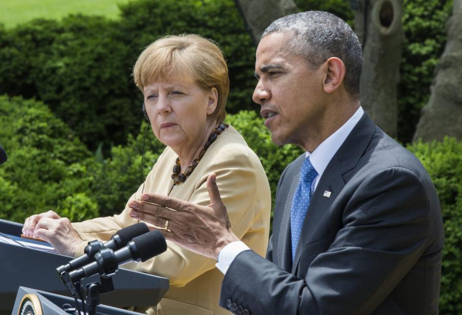 Angela Merkel i Barack Obama w Waszyngtonie. Fot. EPA/JIM LO SCALZO/PAP/EPA