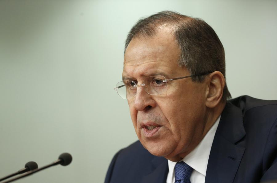 Szef rosyjskiej dyplomacji Siergiej Ławrow podczas konferencji prasowej w Moskwie.