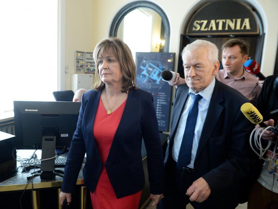 Posłanka Małgorzata Zwiercan i marszałek senior Kornel Morawiecki, PAP/Jacek Turczyk