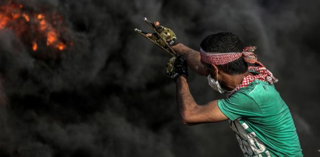 Protestujący w Strefie Gazy