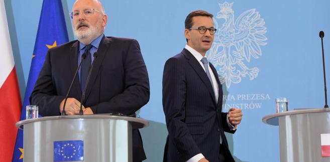 Premier Mateusz Morawiecki i pierwszy wiceprzewodniczący Komisji Europejskiej Frans Timmermans