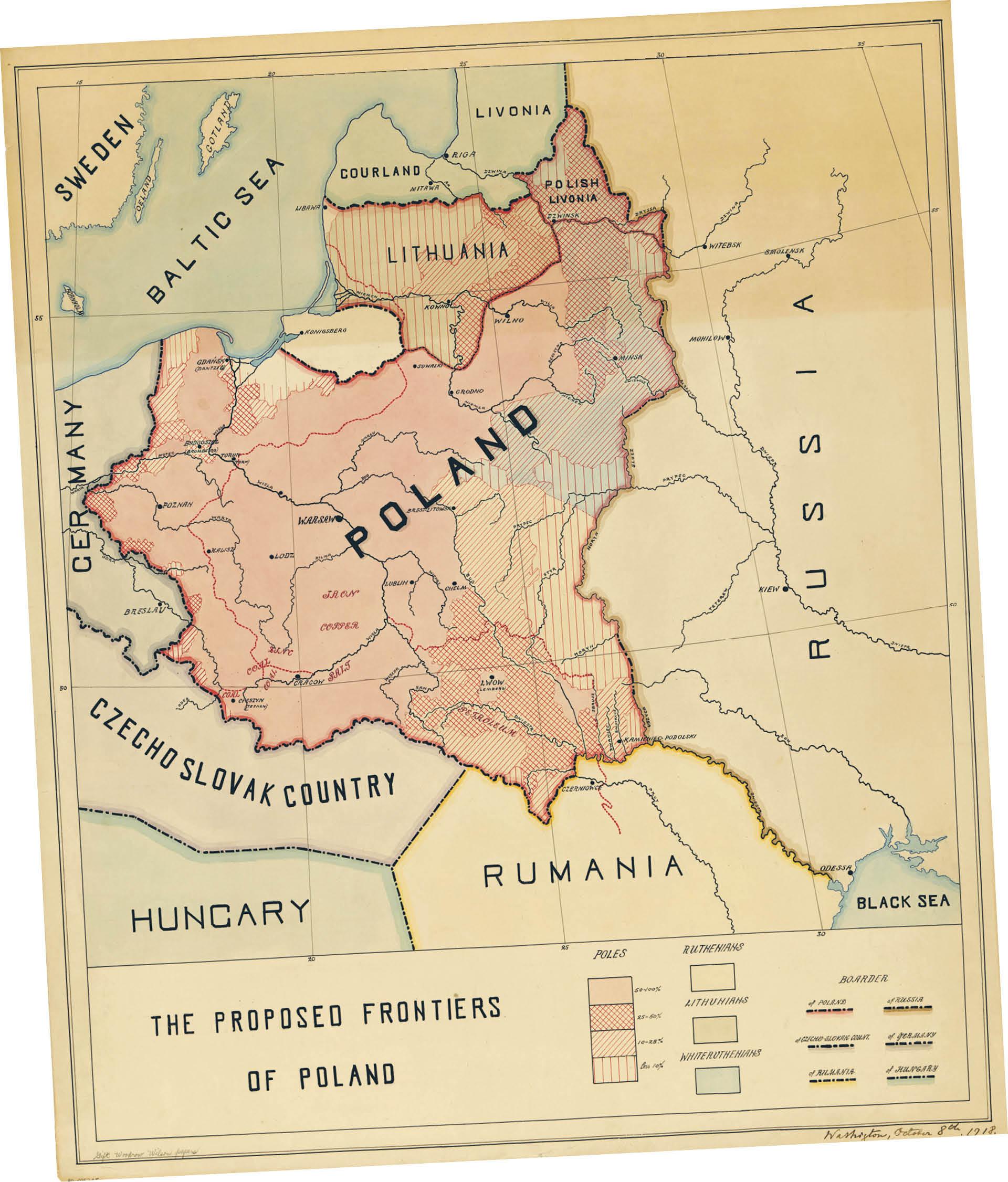 Mapa z sugerowanymi granicami Polski przygotowana przez Romana Dmowskiego dla prezydenta Woodrowa Wilsona