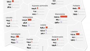 Inwestycje w województwach (dane w mln zł)